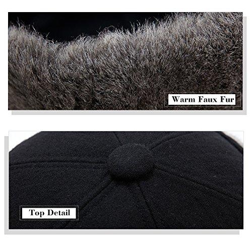 SIGGI Mens Wool Winter Visor Baseball Cap Earflap Hat Faux Fur - Import It  All d45172910830