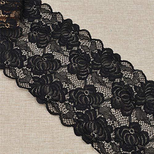 Embossed Spandex Hat - MOPOLIS 1yard Spandex Elastic Lace Trim Decorations Ribbon Sew Edging for Wedding Bridal | Model - Rose Black