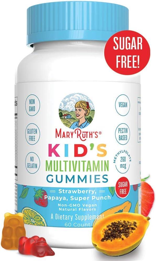 Vegan Kids Multivitamin Gummies by MaryRuth's - Organic Ingredients - Immune Boost - Methylfolate - Sugar Free - Non-GMO Vitamin Chewables 60ct: Health & Personal Care