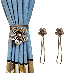 Dimbeit 2 Pack Magnetic Flower Curtain Clips Tiebacks Holdbacks, 19.68 Inch Retro Decorative Curtain Drapery Holdback Buckle Holder for Home Office Artistic Decor - Coffee
