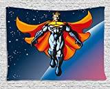 Superhero Tapestry, Mutant Hero Floating in Space Planetary Stars Android Milky Way Background, Wall Hanging for Bedroom Living Room Dorm, 80 W X 60 L Inches, Night Blue Orange