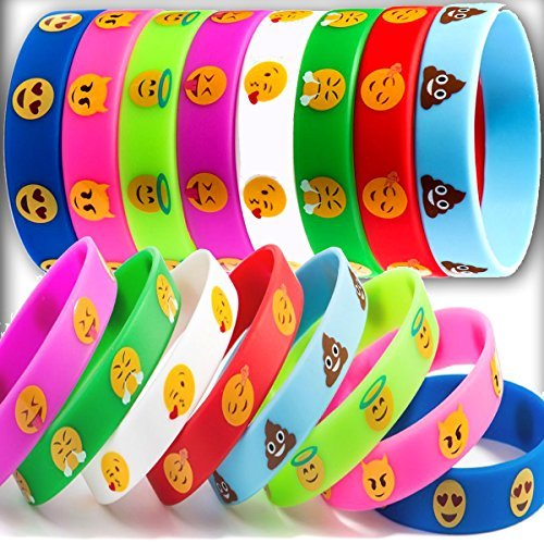 32 Piece Emoji Silicone Wristband Cute Smiley Face Emotion Bracelets for Kids Birthday Party Supplies