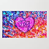 Society6 CHOOSE JOY Christian Art Abstract Painting Typography Happy Colorful Splash Heart Proverbs Scripture Rug 4' x 6'