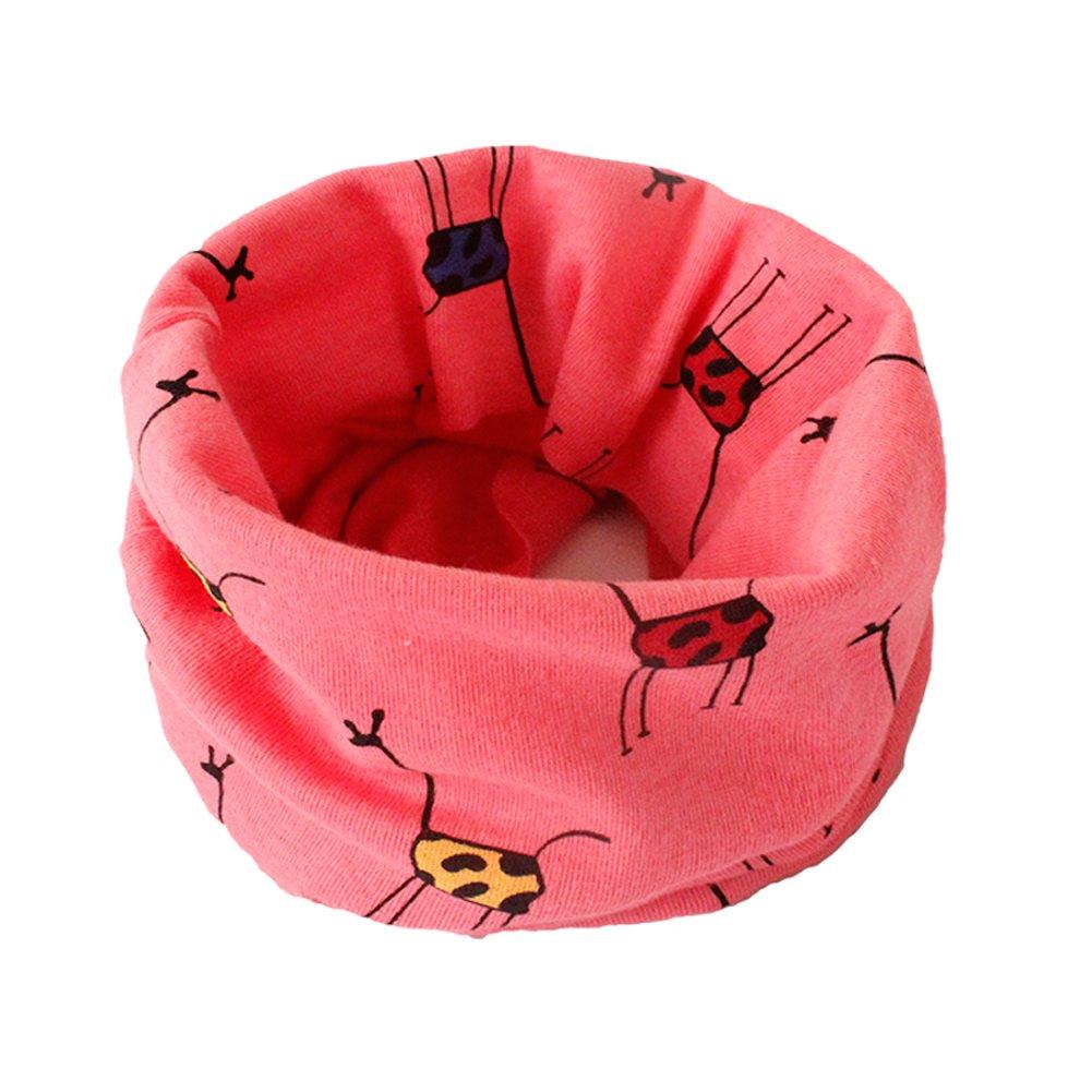 Vi.yo Enfants Foulard Enfants Filles Garçons Coton Cou Foulards Multi Utilisation Cou Plus Chaud Écharpe Chapeau Bandana (Rose)