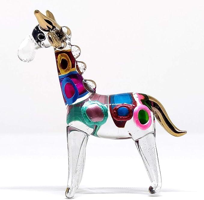 Giraffe Stoop Miniature Figurines Animals Hand Blown Glass Art 22k Gold Trim Collectible Gift Decorate Clear Gold