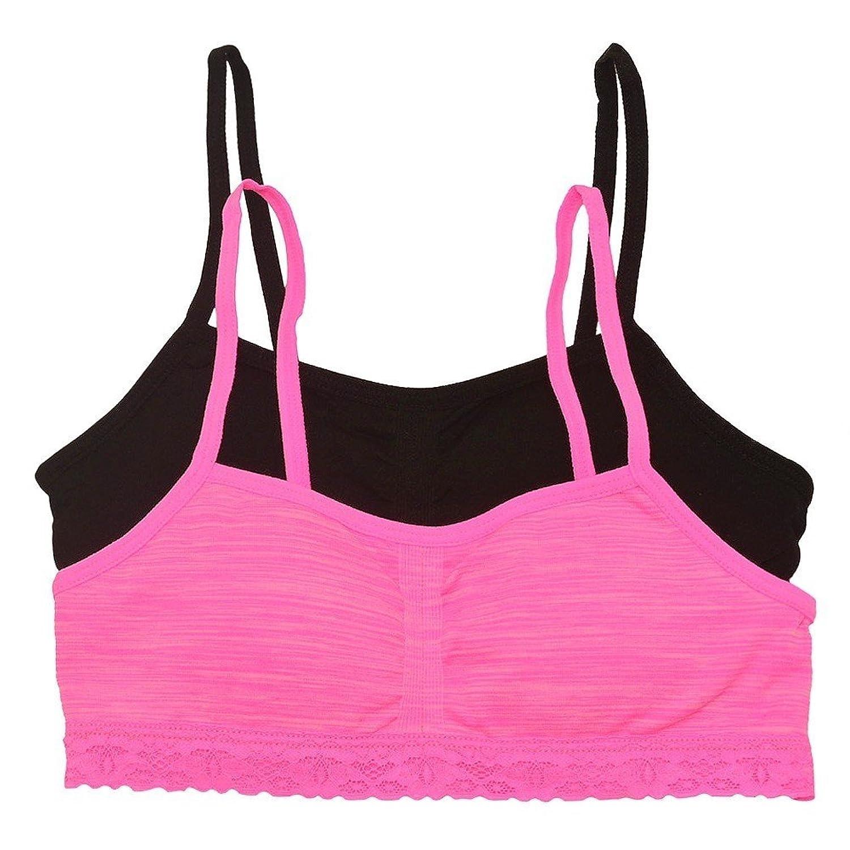 Big Girls Black Pink Spaghetti Strap Lace Trimmed 2 Pc Bandeau Bra Pack 14/16