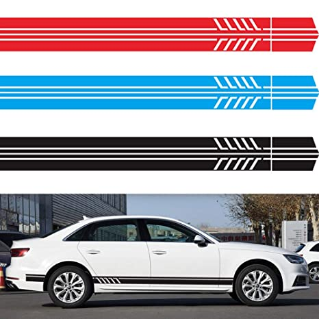 2x Blue 5D Carbon Fiber Side Rear View Mirror Stripes Decal Sticker For Benz AMG