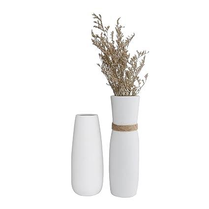 Amazon T4u White Ceramic Vases Set Of 2 Modern Elegant Home