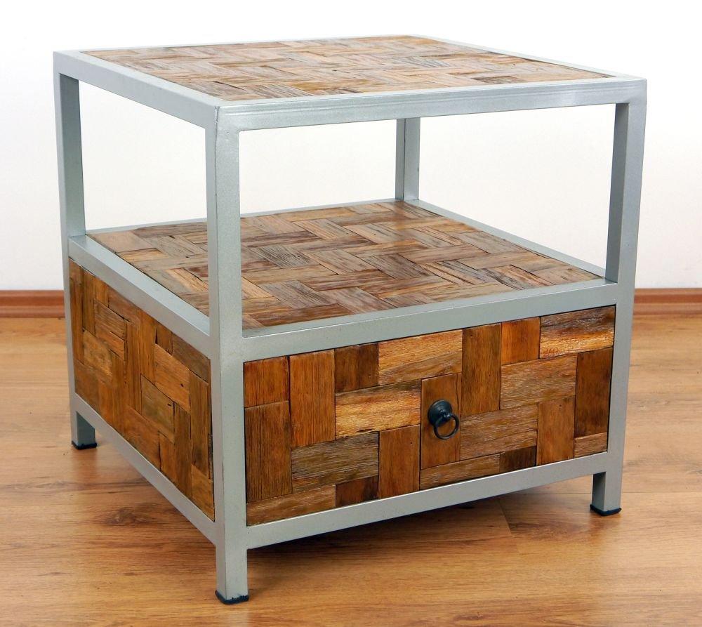 Teakholzmöbel küche  Java Beistelltisch aus Metall und Teakholz | Nachttisch im ...