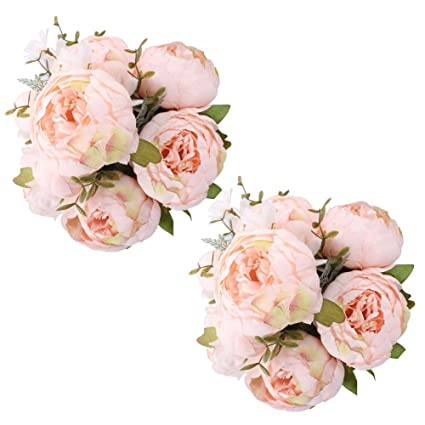 Fule 2 Pack Large Artificial Peony Silk Flower Bouquets Arrangement Wedding Centerpieces Spring Pure Pink