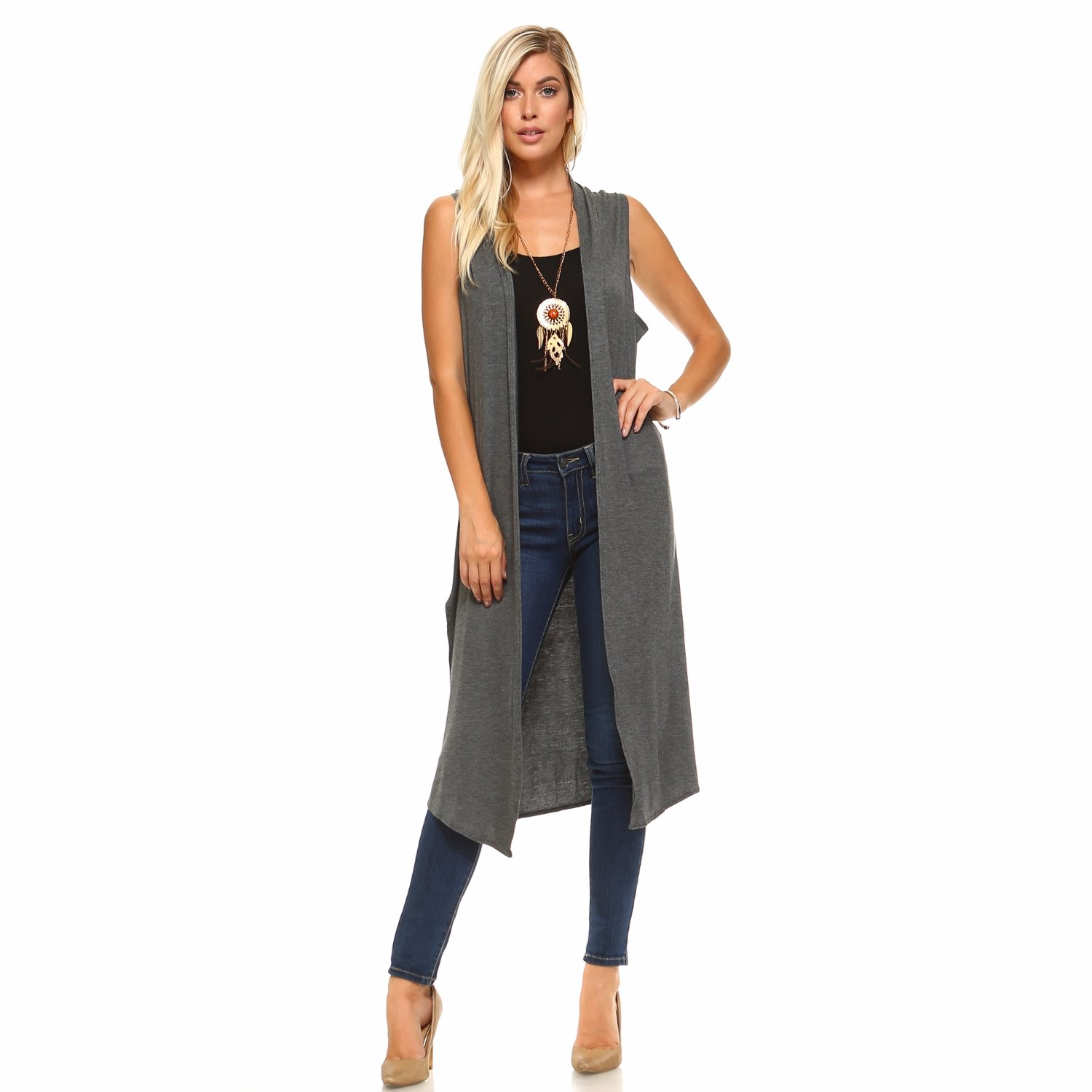 6b98075ba05de Isaac Liev Women s Long Open Front Cardigan Vest with Pockets and Side Slit  at Amazon Women s Clothing store