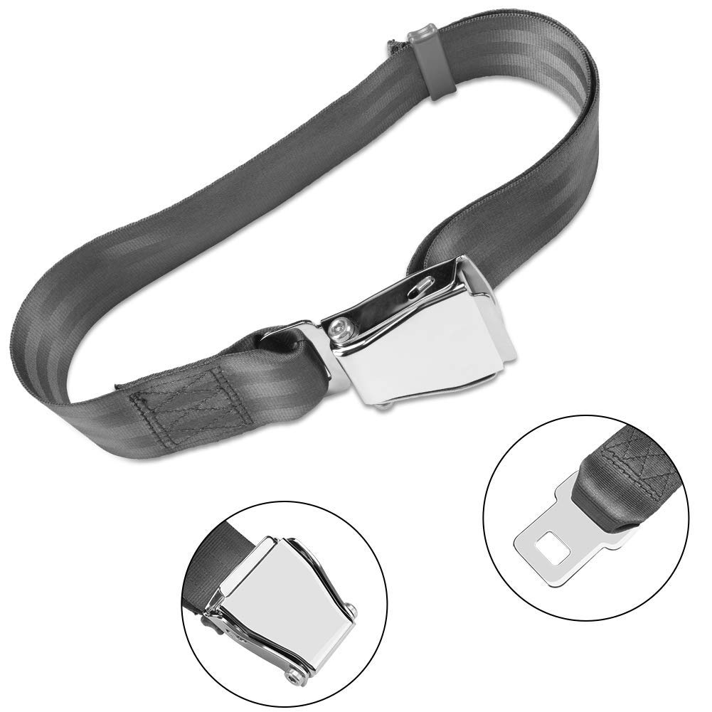 Airplane Seat Belt Extender, 7-35 inch Adjustable Portable Grey Airline Belt Extender FAA & E4 Certified, Compatible with All Major Airlines Except Southwest Letitia Clapham