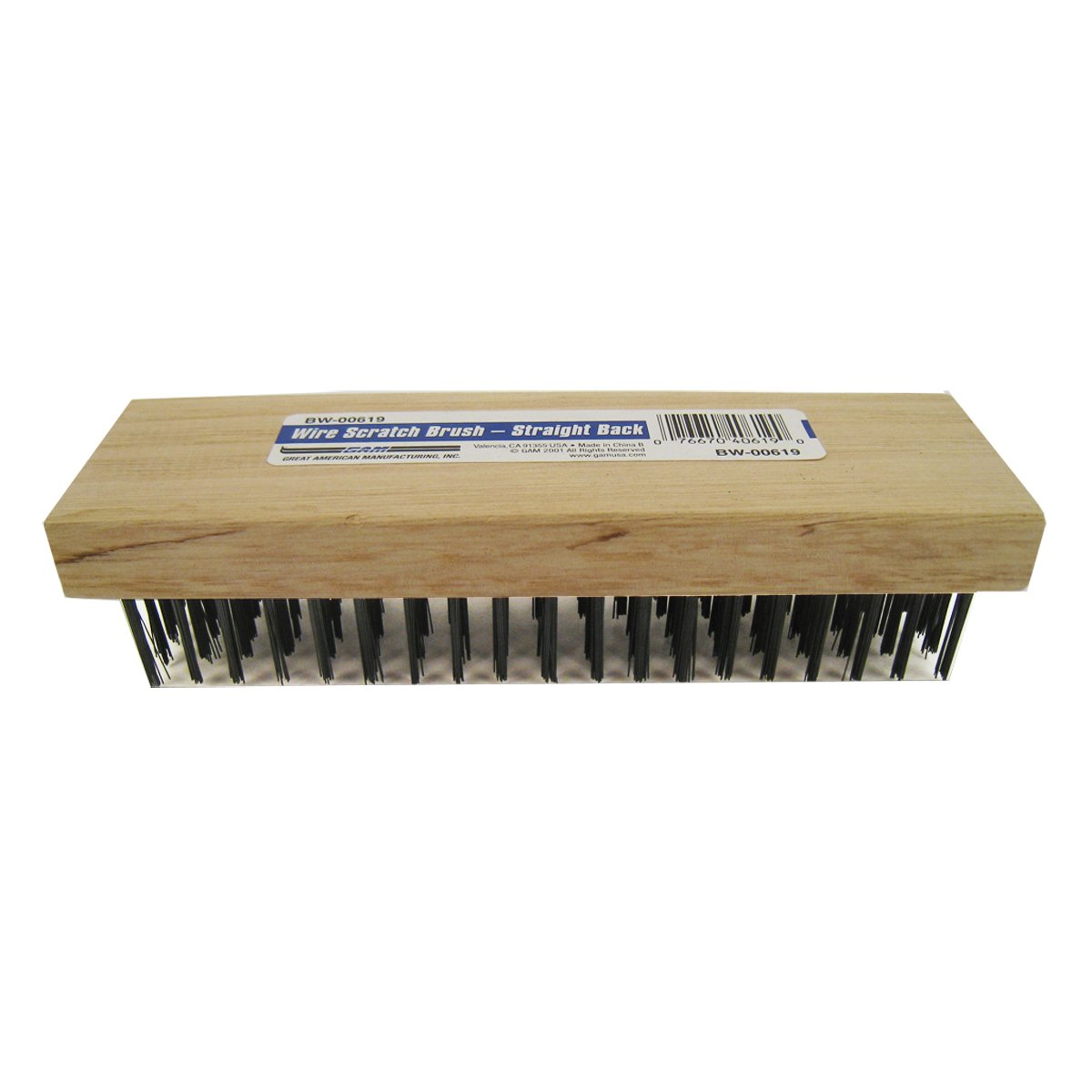 GAM Carbon Steel Wire Straight Back Butcher Block 7 1 4 Scratch Brush