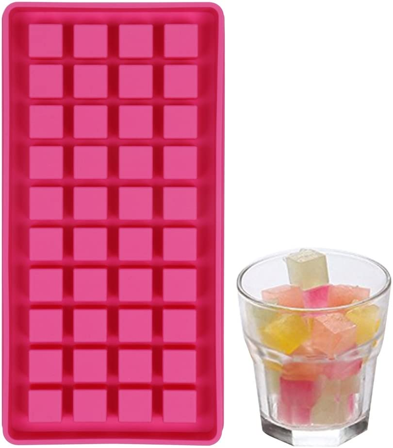 40 Mini Ice Cube Trays Easy Pop Out Ice Cube Maker Soft Silicone Non Stick Perfect for Party BBQ Garden BPA Free (Square ice)