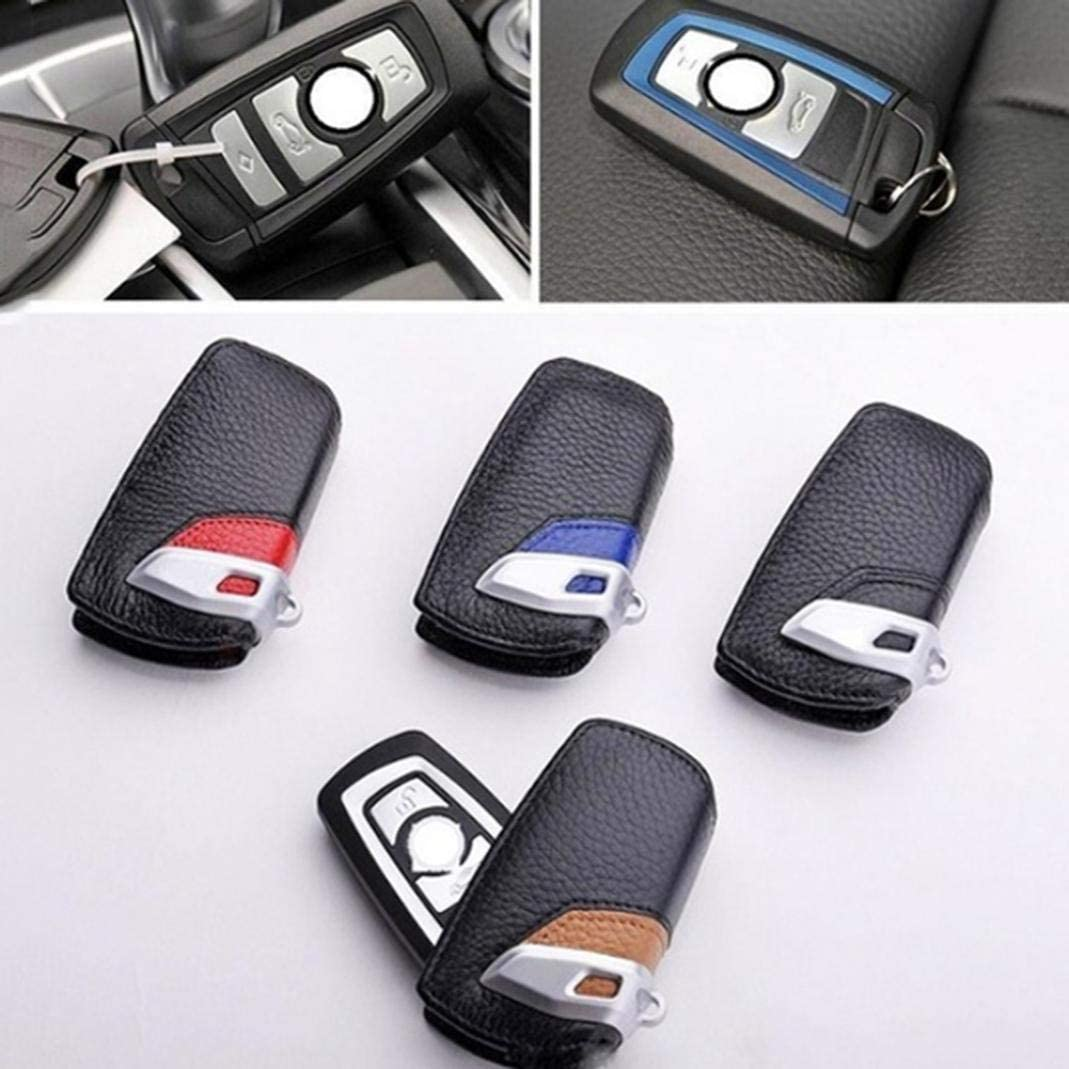 Black YUSHHO56T Car Key Case Interior Decoration Key Holder Genuine Leather Car Key Cover Case Holder for BMW GT7 New 5 Series X3 116I 118I