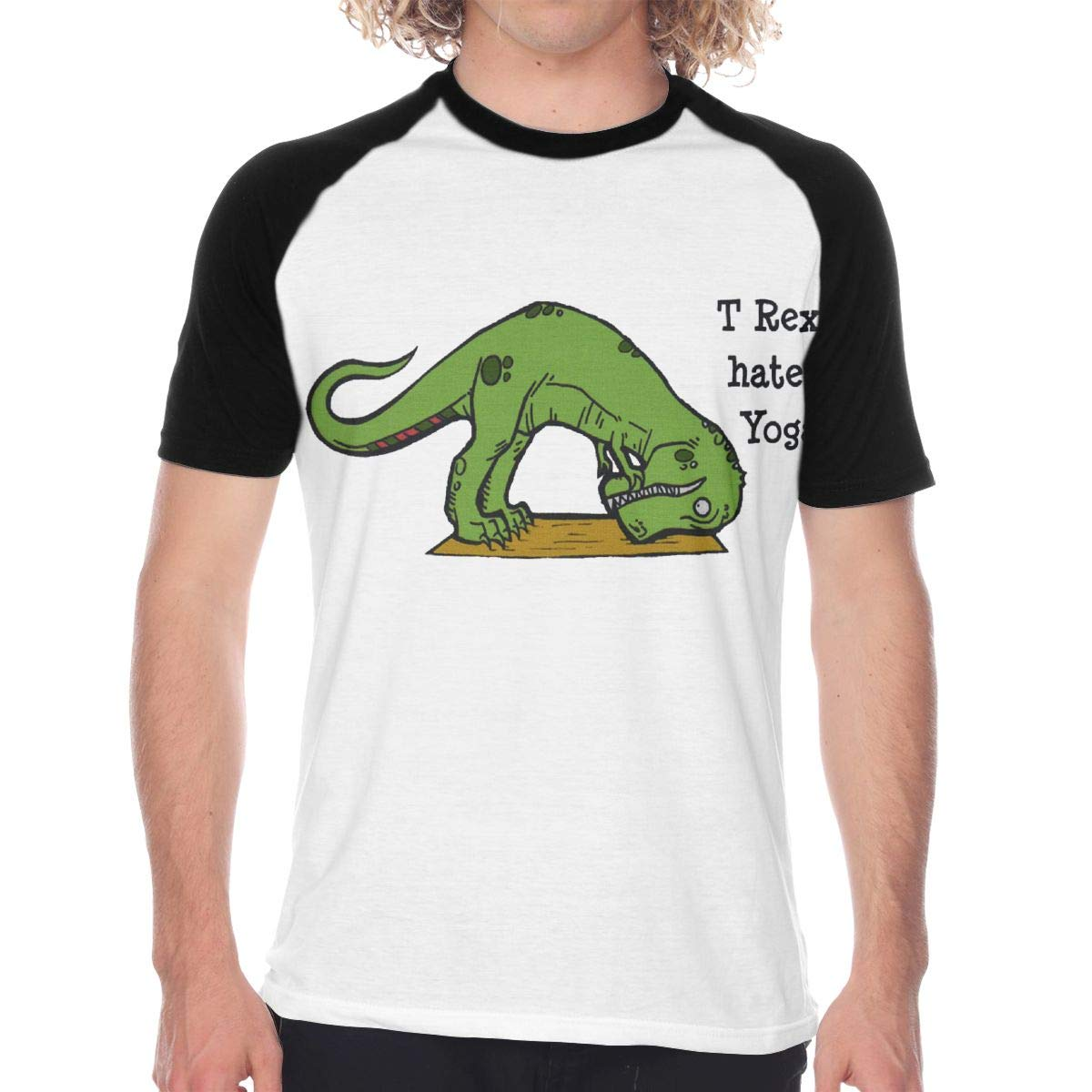 Mens Casual Short Sleeve Baseball Jersey T Rex Hates Yoga ...