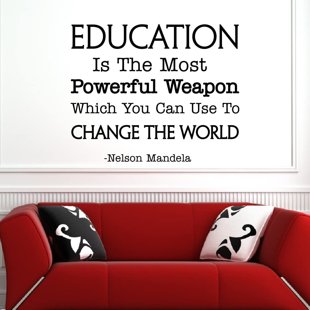 wall decal inspirational quote education is the most powerful