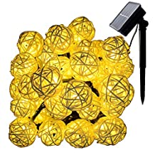 Dephen Solar Rattan Ball String Lights,30 LED 20ft Globe Fairy Orb Lantern Christmas Solar Powered String Lights for Outdoor Camping Garden Yard Patio Party Home Decoration(Warm White)