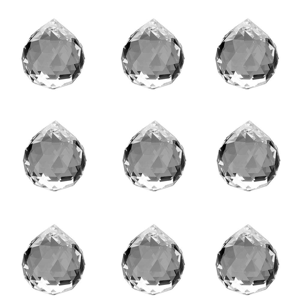 MerryNine 40mm Clear Glass Crystal Ball Prism Pendant (6pack)