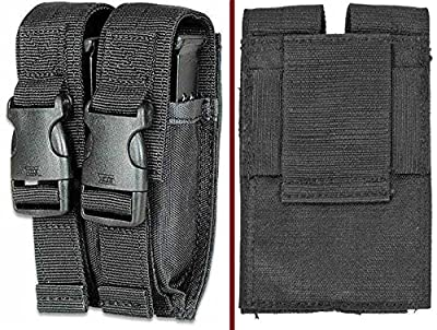 Ultimate Arms Gear Tactical Stealth Black Colt 1911 XSE Double Dual 9mm .40 S&W .45 ACP Hi-Cap Pistol Handgun Caliber Magazine Mag Nylon Cell Carrier Pouch with Secure Buckle Adjustable Velcro Straps