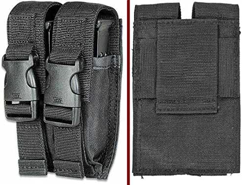 Ultimate Arms Gear Tactical Stealth Black Springfield Armory XD XDS XDM Double Dual 9mm .40 S&W .45 ACP Hi-Cap Pistol Handgun Caliber Magazine Mag Nylon Cell Carrier Pouch with Secure Buckle Adjustable Velcro Straps