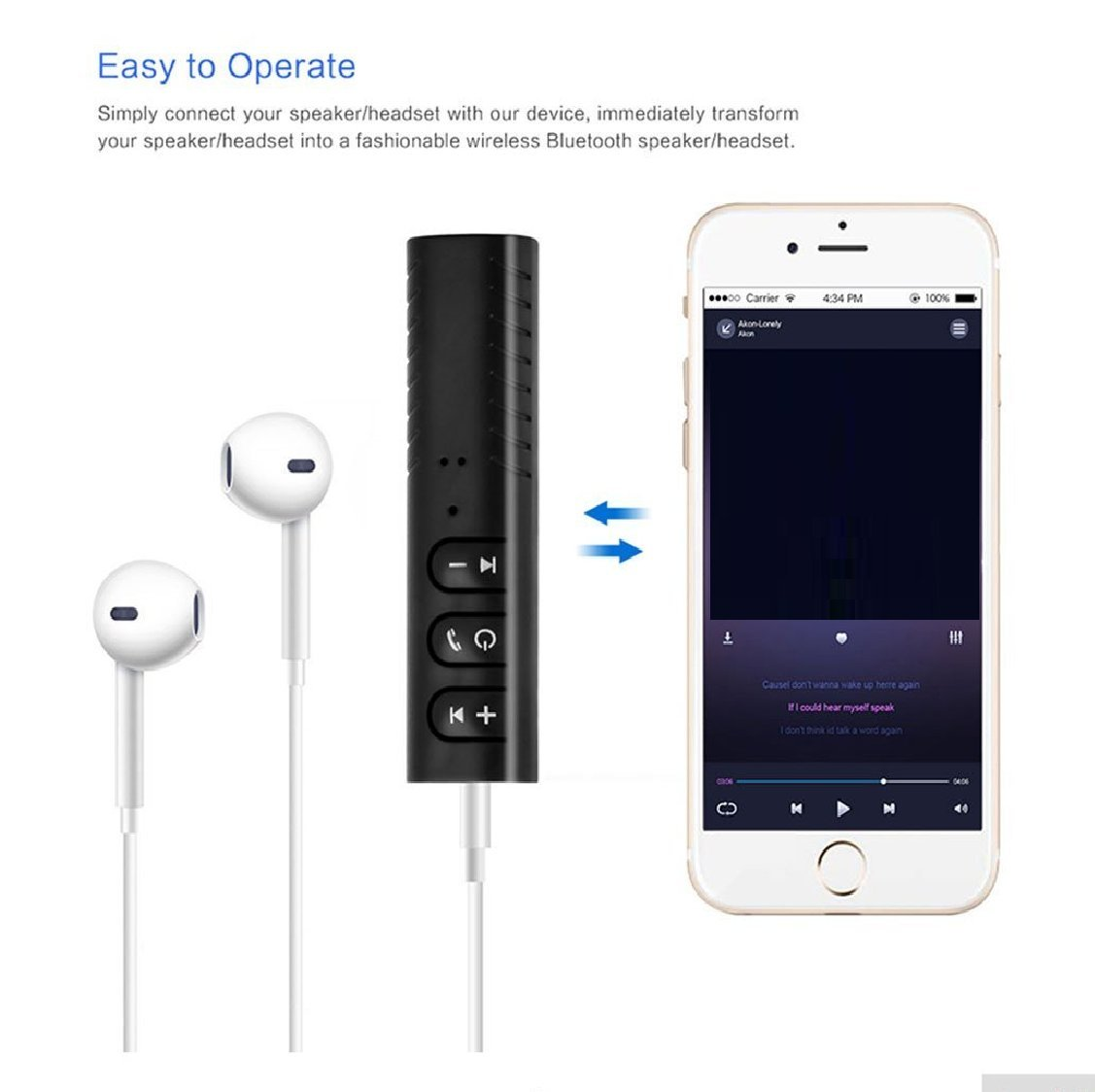 NeeGo 3.5mm AUX Wireless Bluetooth 4.2 Earbuds Headphones Receiver Adapter for Home Stereo System for Car AUX Speaker,