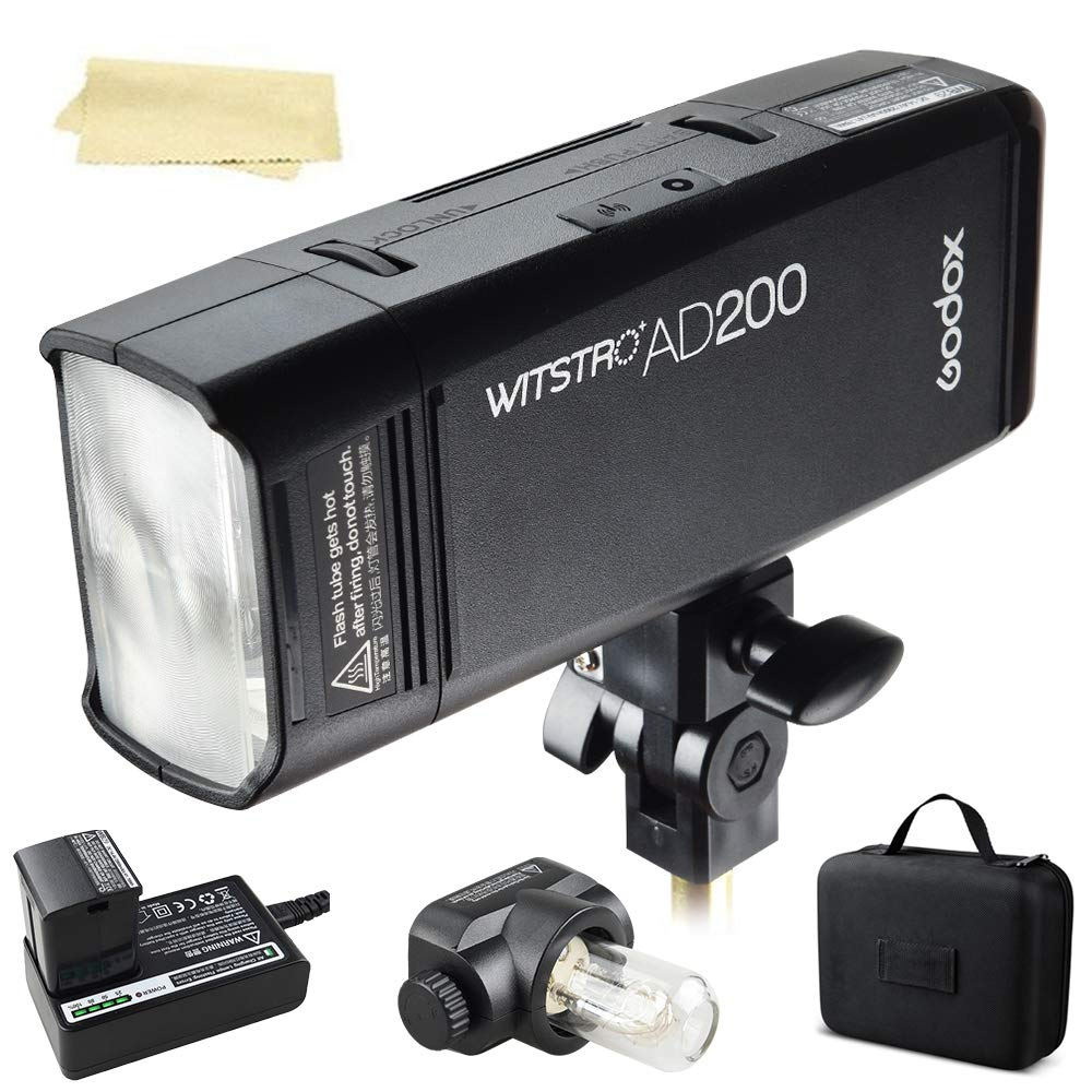 Godox AD200 200Ws 2.4G TTL 1/8000 HSS Strobe Flash Strobe Speedlite Monolight with 2900mAh Lithium Battery to Cover 500 Full Power Shots and Recycle in 0.01-2.1 Sec by Godox