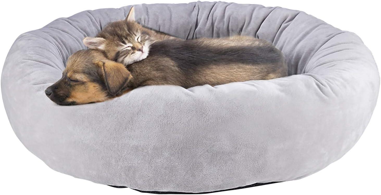 Cama para Gatos Cama para Perro Cojines para Sofá Cama de Mascotas Ovalada Redonda Cómodo Suave Corto Nido de Donut Nido Suave para Perros y Gatos Cómoda y Lavable Antideslizante 60*60*16cm,gris