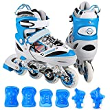Dongchuan Adjustable Kids Rollerblades With Protective Pads Fashion Appearance Wearable PU Wheels Inline Skates For Boys/Girls/Youths/Adults