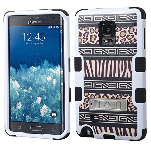 Microseven Samsung Galaxy Note Edge N915 Case Cober, Hybrid Triple Layer Tuff Verge Merge Shield Heavy Duty Hard Cover Dynamic Fitted Skin Case Symbiosis Protector + Clear LCD Screen Protector Shield Guard + Touch Screen Stylus Pen with Microseven Packaging (Zebra Leopard/Black TUFF w/ stand)