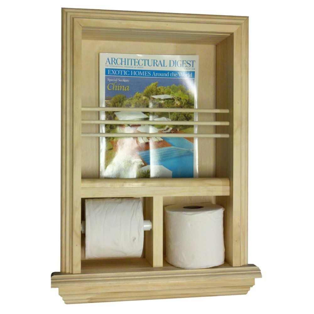 WG Wood Recessed Magazine Rack and Toilet Paper Combo