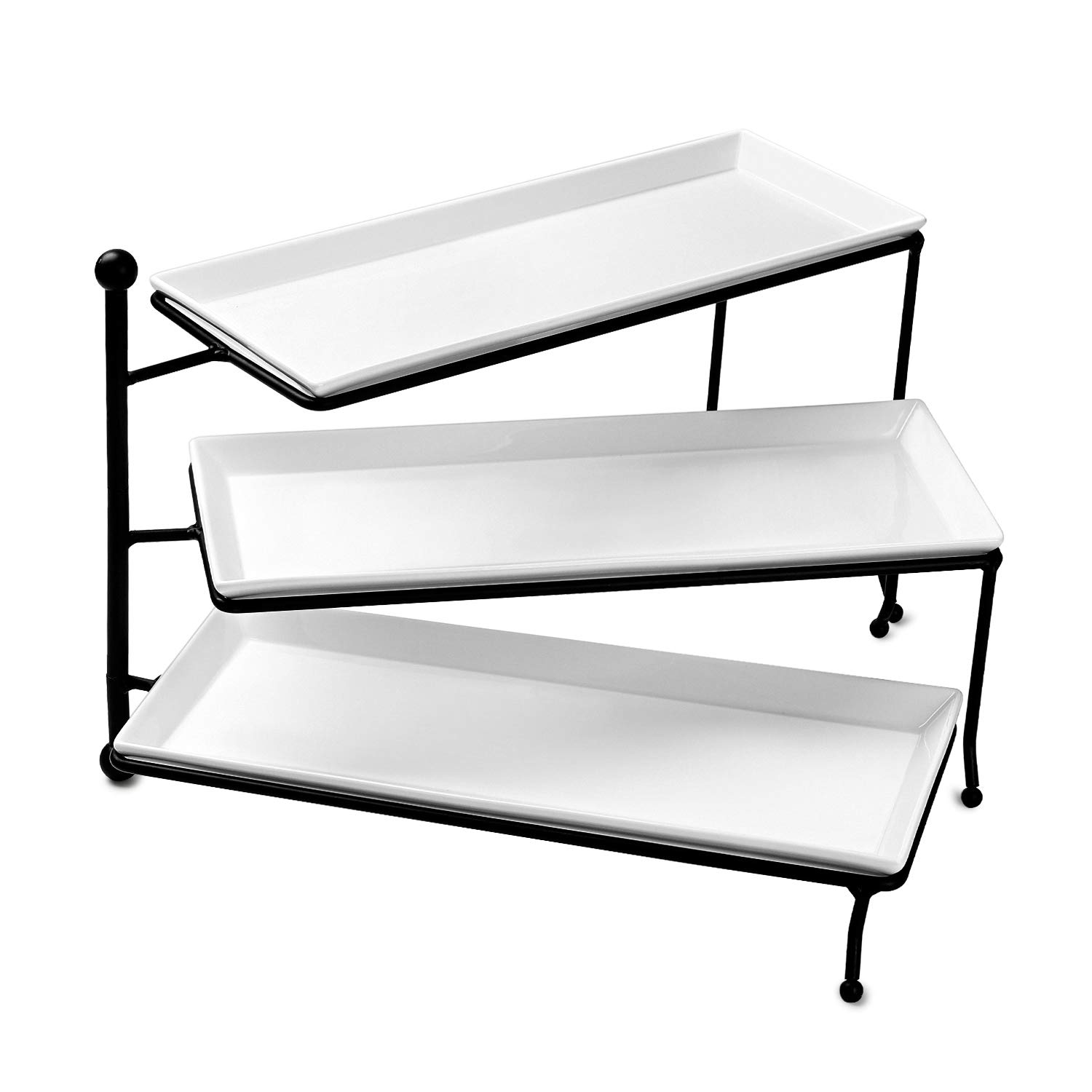 Sweese 3313 3 Tiered Serving Stand/Foldable Rectangular Food Display Stand with White Porcelain Platters - Serving Trays for Parties