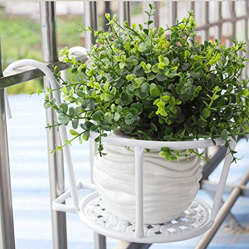 StudioFun Iron Flower Frame Flower Pot European Style Balcony Railings Flower Rack Hanging Flower Pots Hanging Window Sill Guardrail Flower Shelf (Color : White, Size : 10 pcs)