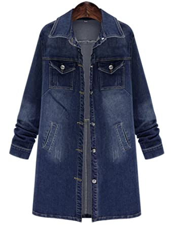 QZUnique Women Long Denim Jacket Casual Loose Long Sleeve Jean Jacket Plus  Size Ladies Denim Coat 6e23fe740a