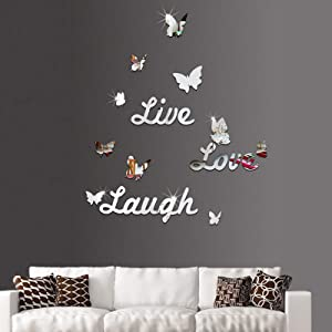3D Silver Mirror Sticker Decor Live Love Laugh Butterfly DIY Wall Decal for Bedroom Living Room Home Decoration