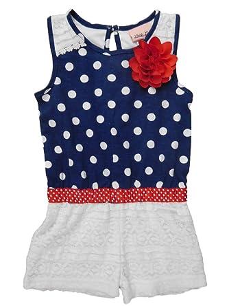 184a44d9ab3 Little Lass Infant   Toddler Girls Blue Polka Dot Romper Patriotic Outfit  12m