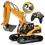 remote control backhoe - Top Race 15 Channel Full Functional Remote Control Excavator Construction Tractor, Excavator Toy with 2.4Ghz Transmitter 2 in 1 with Interchangeable Shovel TR-215/211