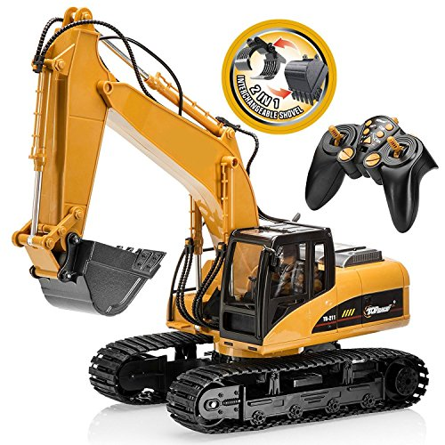 Top Race 15 Channel Full Functional Remote Control Excavator Construction Tractor, Excavator Toy with 2.4Ghz Transmitter 2 in 1 with Interchangeable Shovel TR-215/211 for $<!--$119.99-->