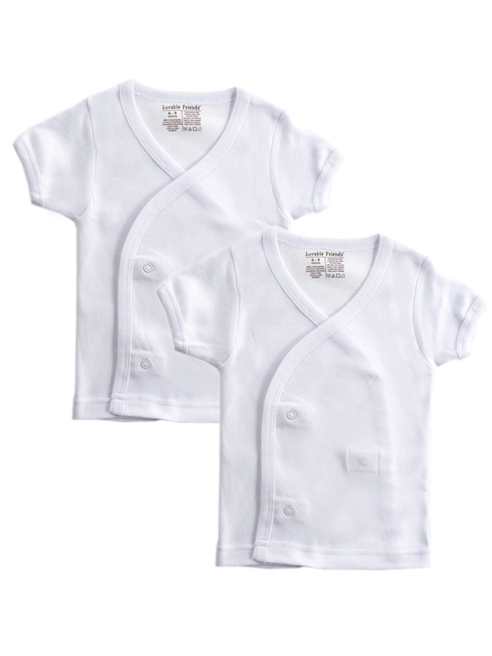 Luvable Friends 2-Pack Unisex Baby S/S Side Snap Shirts