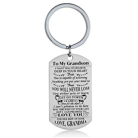 Amazon.com: Llavero con diseño de nieta de Grandson, regalo ...