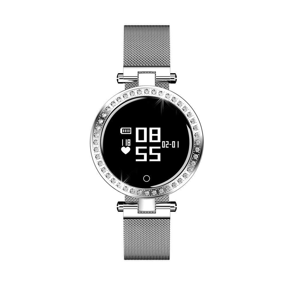 For Android IOS, Women Shining Rhinestones Sport Smart Watch Heart Rate Blood Pressure Sleep Monitoring Smart Bracelet (Silver)