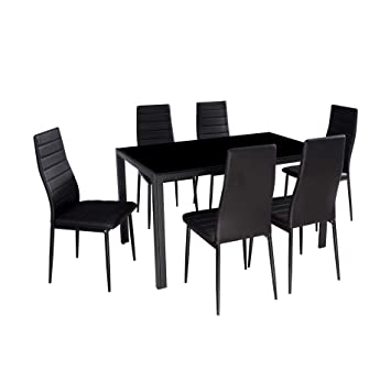 Fine Ids Online 7 Pieces Modern Glass Dining Table Set Faxu Leather With 6 Chairs Black Caraccident5 Cool Chair Designs And Ideas Caraccident5Info