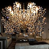 Cheap Generic Full Crystal Style Crystals Chandelier 8 Lights Island Light Indoor Light Living Room Lamp Color Gold and Clear