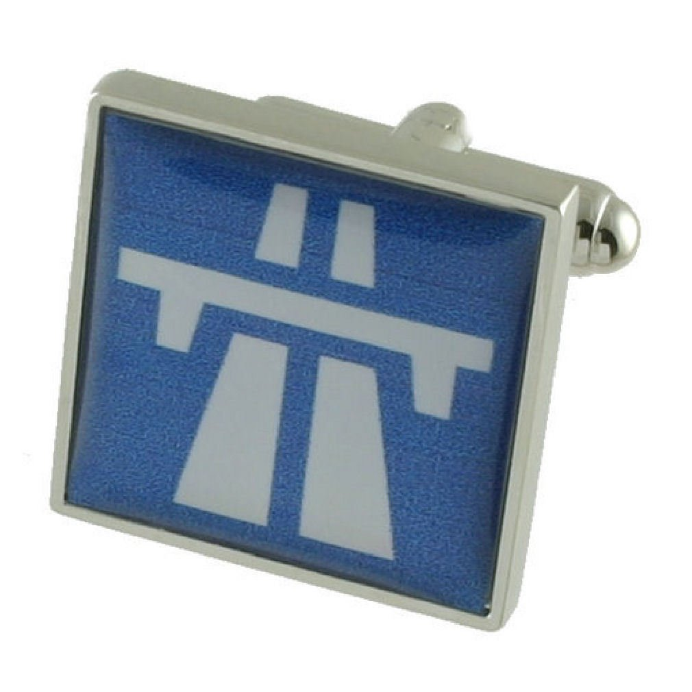Motorway Driver Cufflinks Solid Sterling Silver 925 with optional engraved message box