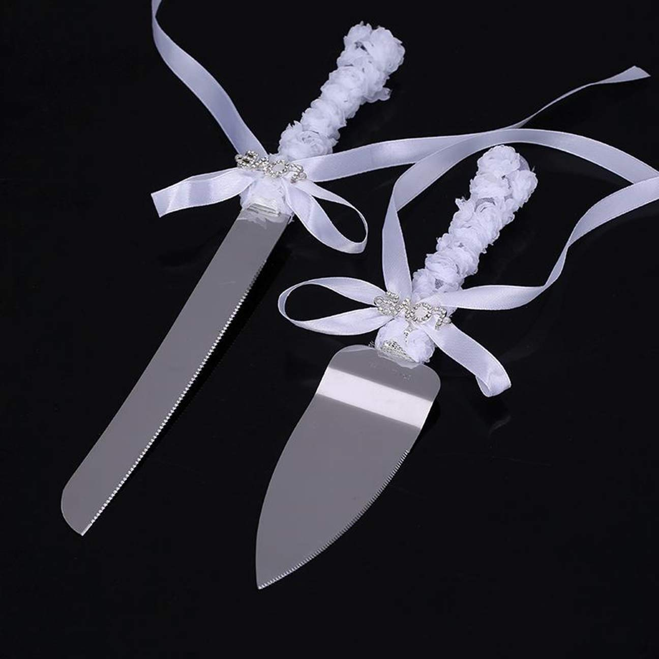 2 Pcs Wedding Cake Knife Server Set Stainless Steel Anniversary Parties Tableware UOB