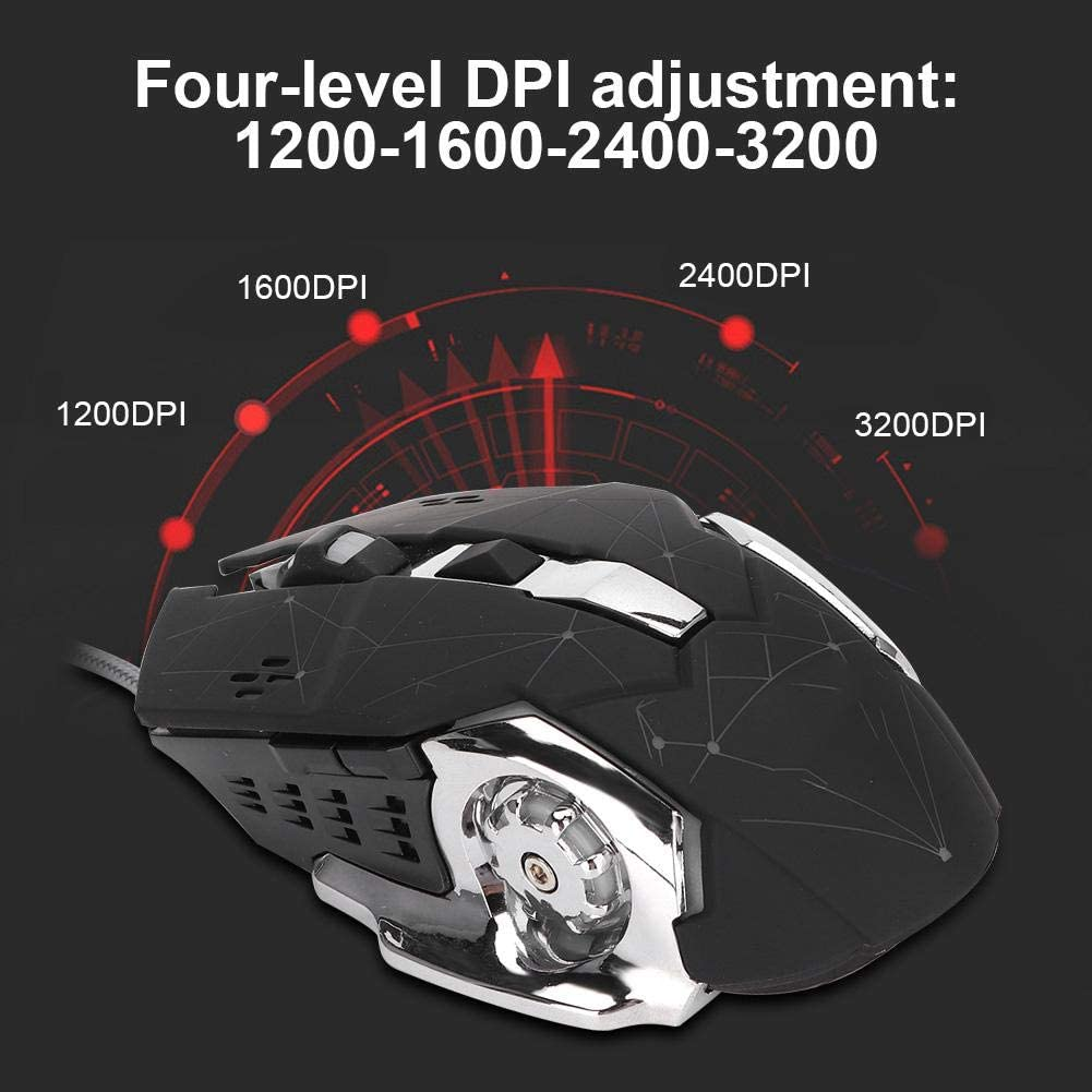 ASHATA Ergonomic Gaming Mouse Extra Weight for PC Laptop Desktop Notebook for PUGB for CF Wired Ergonomic Mice with Four-Level Adjustment DPI up to 3200DPI