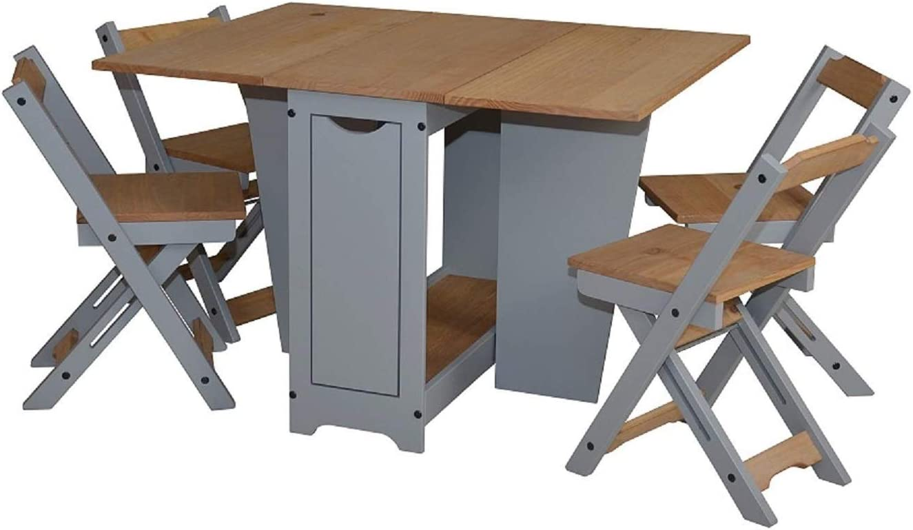 Ellingham Drop Leaf Butterfly Dining Table Set With 4 Stowaway Foldaway Chairs Small Space Saving Breakfast Folding Away Fold Out Kitchen Stools Seater Farmhouse Butterfly Set Pine Grey Home Kitchen