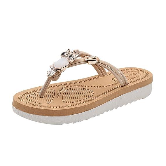 Sandalias Mujer Verano,YiYLinneo Moda Dama Flip-Flops Color SóLido Sandalias Chanclas De Flores Zapatos De Playa Flipflop Shoes CN 35-40: Amazon.es: Ropa y ...
