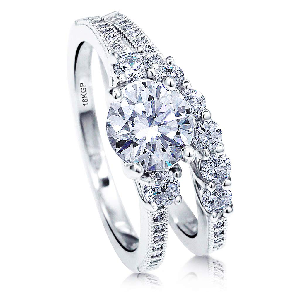 AndreAngel Wedding Sets Rings Engagement Bridal Marriage Promise Proposal Women White Gold 18K Carat Cubic Zirconia Lab Diamond AAAAA Stone Statement Princess Cut Solitaire Vintage Valentine Size 6