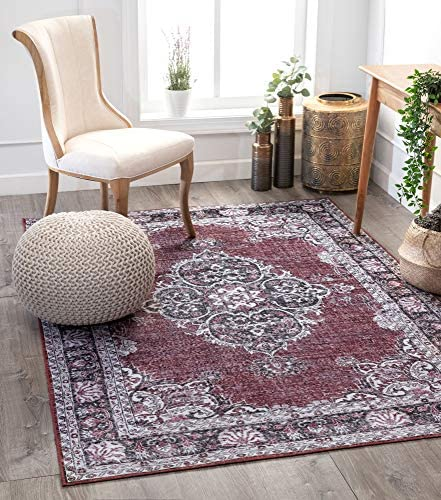 Well Woven Mareva Machine Washable Burgundy Red Vintage Oriental Medallion Area Rug 5×7 5 x 7